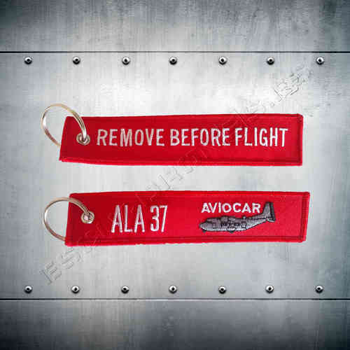 Llavero bordado REMOVE BEFORE FLIGHT AVIOCAR Ala 37