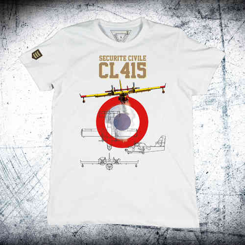 BOMBARDIER CL-415 SECURITE CIVILE Escarapela T-Shirt