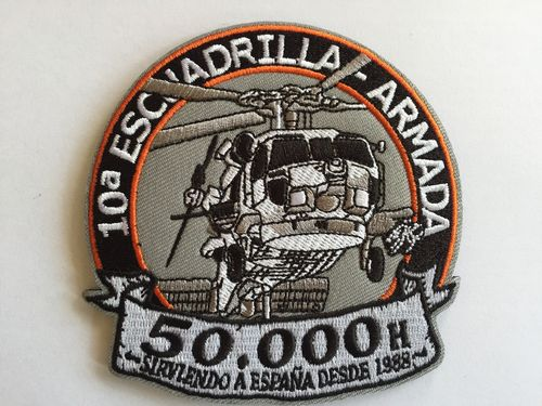 Embroidered patch 10ª Escuadrilla SH 60B 50000 h iron sticky back