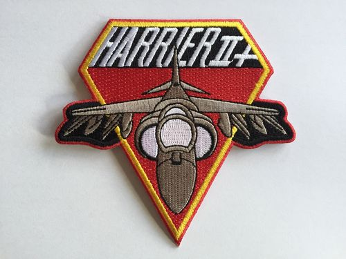 Embroidered patch Harrier II+ red. Iron sticky back