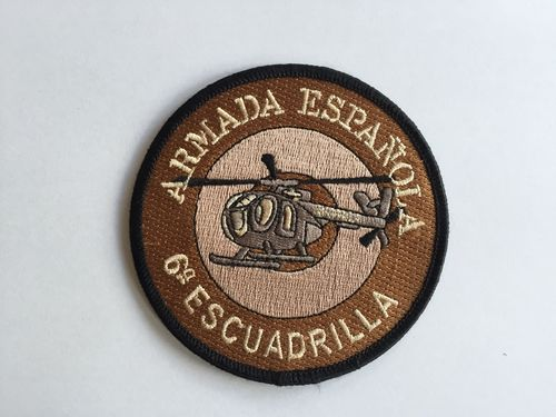 Embroidered patch 6ª Escuadrilla MD-500 desert rounded. Iron sticky back