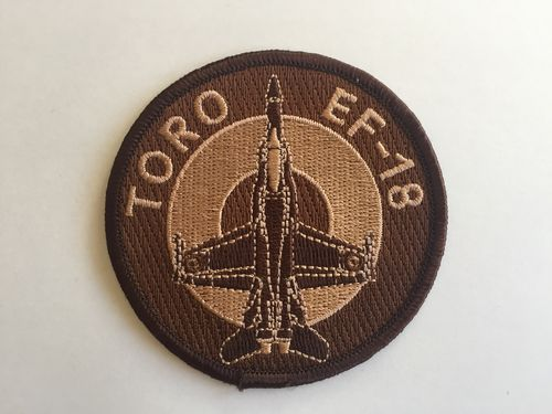 Embroidered patch ALA 15 EF-18 TORO desert. Iron sticky back