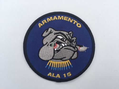 Embroidered patch ALA 15 Ordnance Team bulldog. Iron sticky back