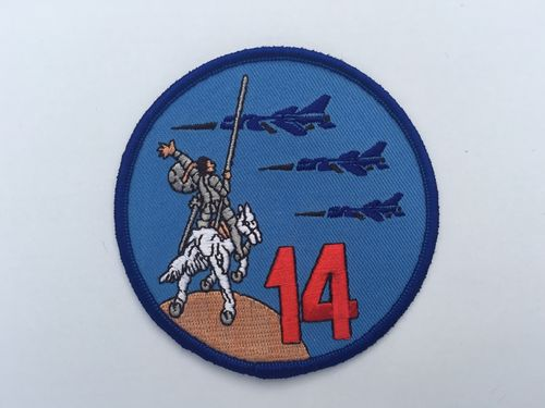Embroidered patch ALA 14 emblema Quijote. Iron sticky back