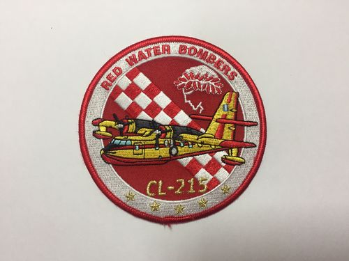 Embroidered patch collector´s only item. Greece CL-215 Red Water Bombers. 10 cm