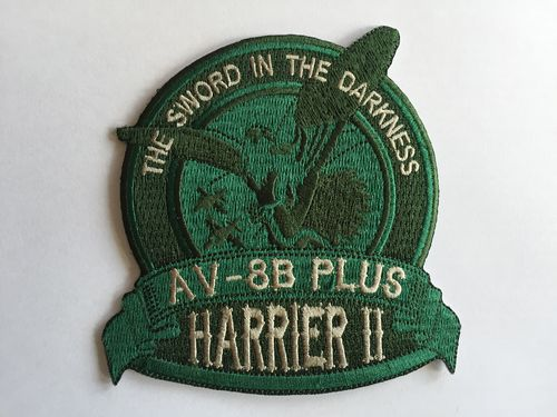 Embroidered patch AV-8B SWORD IN THE DARKNESS green . Iron sticky back
