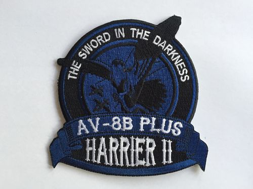 Embroidered patch AV-8B SWORD IN THE DARKNESS blue. Iron sticky back