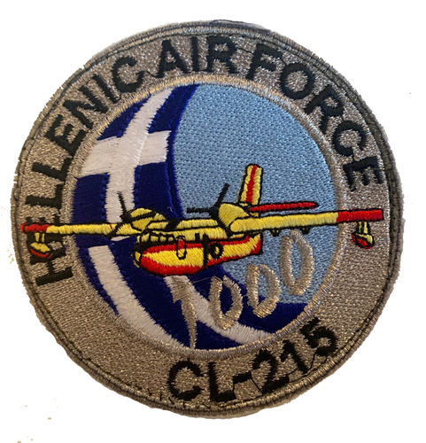 Parche bordado coleccionista. Hellenic air force CL-215 1000 hours.