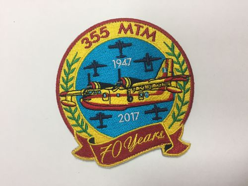 Embroidered patch collector´s only item. Greece CL-215 355 MTM 70 years. 10 cm. Velcro back